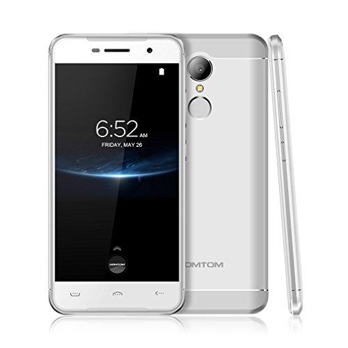 HOMTOM HT37 PRO Android 7.0 4G LTE Smartphone (3GB RAM + 32GB ROM, 13MP + 13MP Dual Kamera, Dual SIM, 3000mAh Akku, 5.0 Zoll HD Screen), Fingerabdruck - Silber