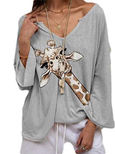 H&E Women V Neck Tops Fall Long Sleeve Deer Print T-Shirt Blouse Grey US M