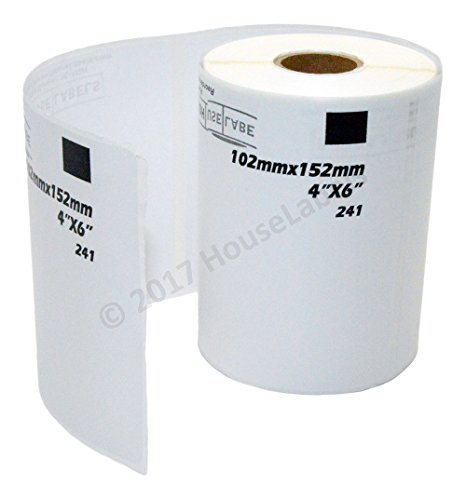 """Generic Shipping Labels Compatible w/ Brother DK-1241 with ONE -1 reusable black cartridge (4"""" x 6""""; 151mm102mm) BPA Free (5 Rolls; 200 Labels per Roll)"""