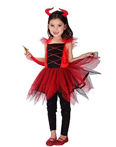 Costume Diavoletta - Travestimento - Carnevale - Halloween - Diavolo - Demone - Infernale - Colore rosso - Bambina - Taglia XL - 7-8 anni - Idea regalo per natale e compleanno