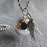 Bola de Grossesse avec chaine Kali, PERSONNALISABLE, argenté avec deux minis ailes argentées