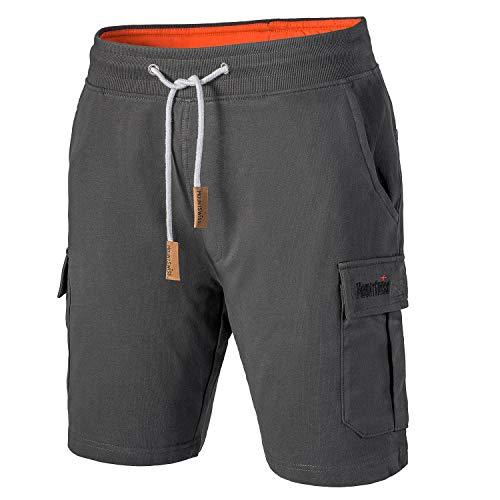 Mount Swiss Cargo Shorts Herren I Moderne Cotton Bermuda Shorts für Herren mit 6 Taschen & Klett- BZW. Reiß-Verschluss I Freizeit Cargo Hose Herren kurz in klassischen Farben Größe S - 6XL,Anthrazit