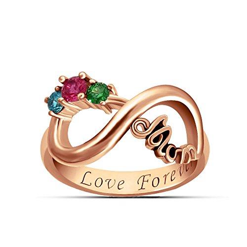 TWinkle Anello Infinity Inciso con 3 Birthstone in Argento Sterling 925 / Oro/Oro Rosa Anelli di Anniversario(Oro Rosa-Z+2)