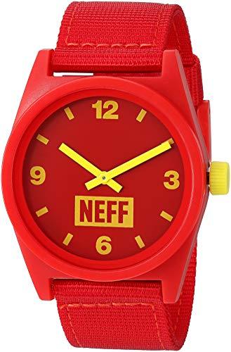 neff Reloj analógico para adultos con correa de silicona unisex, color rojo y amarillo, talla única