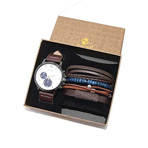 YIBOKANG 2pcs Business Business Casual Big Dial Impermeable Cuarzo Conjunto De Mano De Moda Pulsera Reloj Traje De Regalo (Color : Marrón)