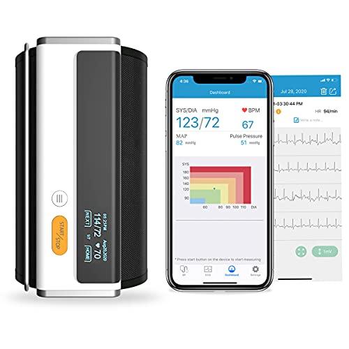 Wellue Armfit Plus Misuratore di Pressione Con Funzione ECG, Misuratore di Pressione Sanguigna da Braccio, Connessione Bluetooth App per iOS e Android