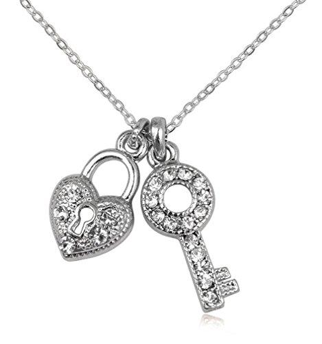 Schmuck Anhänger Schlüssel Herz Schloss 21 x 10 mm, Metall Silber Mit Strass Kristall Damen Mädchen inkl. Kette 46 cm