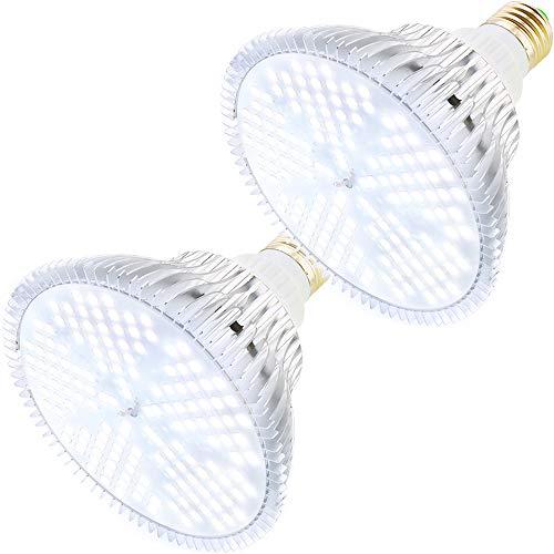 MILYN 2er Pack 100W Pflanzenlampe Led Vollspektrum E27 Weiß Pflanzenlicht für Zimmerpflanzen Pflanzen LED Grow Lampe für Gewächshäusern, Innengärten, Blumen, Gemüse, Obst(2 Pack 100W Weiß)
