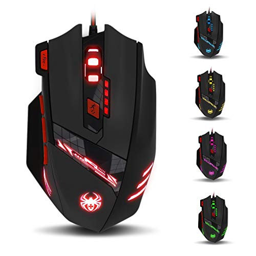 T90 Gaming Mouse 9200 DPI Wired USB Computer Mice with 8 Buttons 13 LED Mode and Weight Tuning Set for Gamer Win 8/7/XP Vista Mac OS - Black