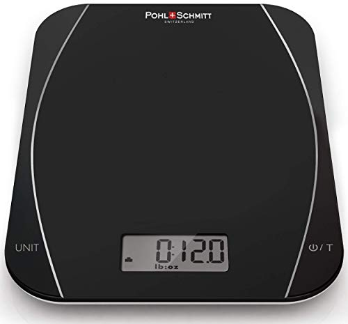 Pohl Schmitt Mechanical/Digital Food Kitchen Scale - Multi-Transducer Scale for Greater Precision with Auto Shut-Off (Batt. Incl.), Black