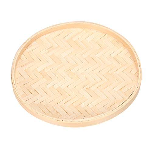 SUPVOX Round Wicker Fruit Basket Flat Woven Food Storage Serving Tray Organizer Round Disc for DIY Wall Hanging Decorations 22cm