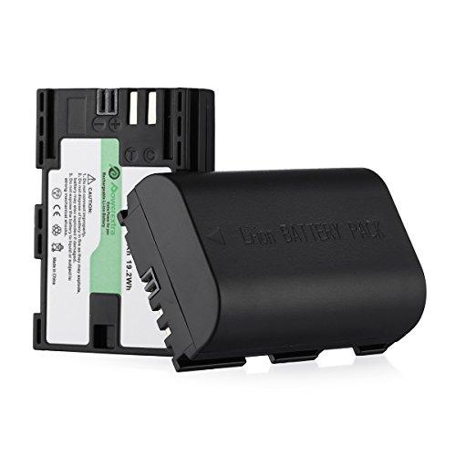 Powerextra Batería de Repuesto para Canon LP-E6 LP-E6N 2X Baterías Canon EOS 80D 6D 7D 70D 60D 5D Mark III 5D Mark II BG-E14 BG-E11 BG-E9 BG-E7 LC-E6 BG-E6