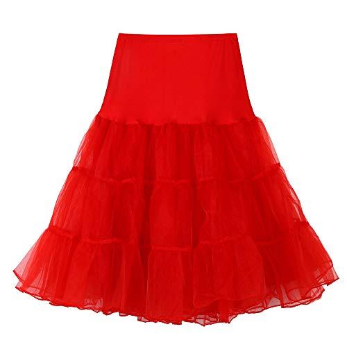 Andouy Damen Tutu Rock Tüll Organza A-Linie Petticoat Balletttanz Layred Kostüm Dress-up Größe 34-52(48-52,rot)