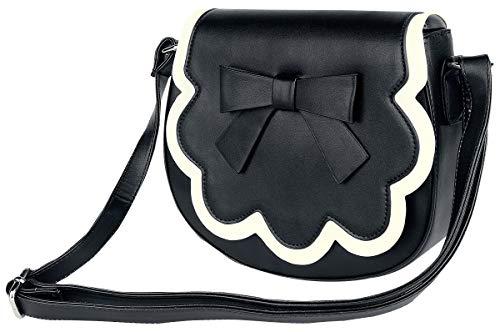 Banned Apparel Rocco Vintage 50s Rockabilly Mujer Bolso de Mano y Hombro - Negro/Blanco, One Size
