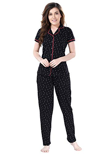 AV2 Women Cotton Polkadot Printed Top & Pyjama Nighsuit Set...