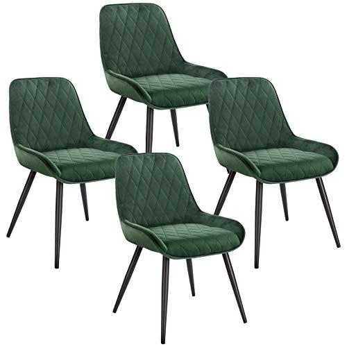 ELIGHTRY 4 Stücke Esszimmerstühle,Retro Küchenstuhl Wohnzimmerstuhl Sitzfläche aus Samt Retrostuhl mit Metallbeine Besucherstuhl Stuhl für Esszimmer Wohnzimmer Küche Dunkelgrün