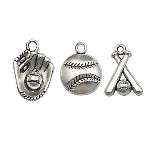 100g(About 60pcs) Wholesale Bulk Lots Jewelry Making Charms Mixed Tibetan Silver Ball Games Baseball Sports Charms for Necklace Bracelet Jewelry Making and Crafting SM130