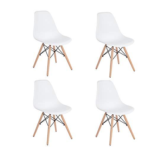 HOMEMAKE FURNITURE Juego de 4 sillas de comedor de estilo moderno premontadas Silla de Eames moderna de mediados de siglo, silla de plástico Shell Lounge para cocina, comedor, dormitorio, sillas de salón Blan