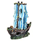 ZMIN Decoraciones de Resina de naufragio para acuarios, respetuosas con el Medio Ambiente para Decoraciones de Peces Betta de Acuario de Agua Dulce y Salada
