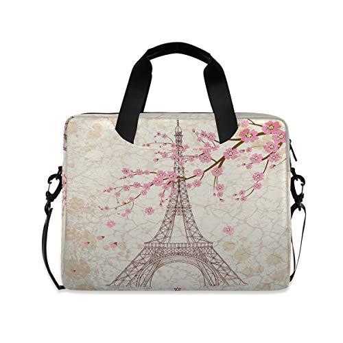 OOWOW - Bolsa para portátil para mujer y hombre, diseño de torre Eiffel con textura de mármol, ligera, maletín para ordenador portátil de 14 15,6 16 pulgadas