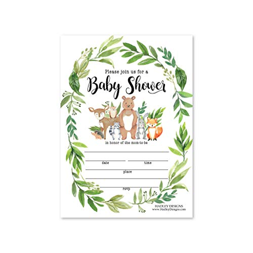 25 Greenery Woodland Baby Shower Invitations, Sprinkle Invite For Boy or Girl, Coed Rustic Gender Reveal Neutral Theme, Cute Deer Bunny Fill Write In Blank Printable Card, Animal Party DIY Supplies