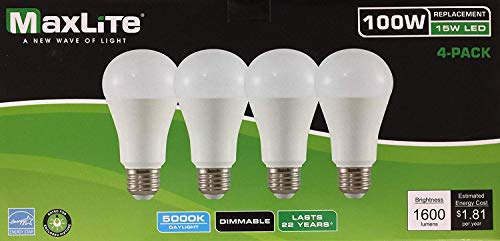 Maxlite LED Dimmable 4 Pack A19 Bulb 100W Daylight 5000K, White