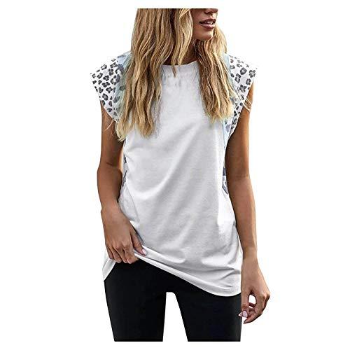 YANFANG Tops sin Mangas para Mujer Camisetas con Hombros Anchos Chaleco Informal de Moda con Estampado de Leopardo,Ropa de San Valentín,T-Shirts de Amigos y Equipo