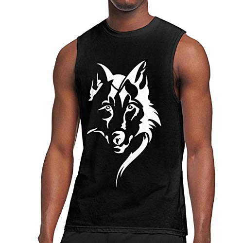 WLQP Camiseta sin Mangas para Hombre Wolf Face Mens Tanks Muscle Workout Sleeveless Shirt