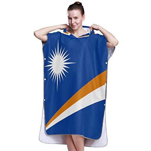 Printedin3D Marshall Islands Flag Quick Dry Bathrobe Towel Swim Towels Poncho Beach Changing Robe