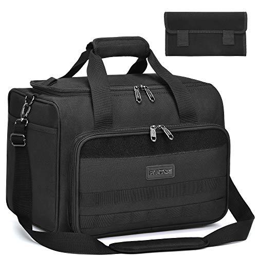Partage Gun Range Bag Deluxe Pistol Shooting Range Duffle Bags with Velvet Cushion -Black