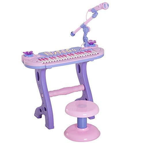 HOMCOM Piano Infantil 37 Teclas Teclado Electrónico Juego de Piano Regalo Juguete Educativo para Niños +3 Años con Micrófono Taburete Luces y 22 Canciones USB/MP3 Karaoke Rosa