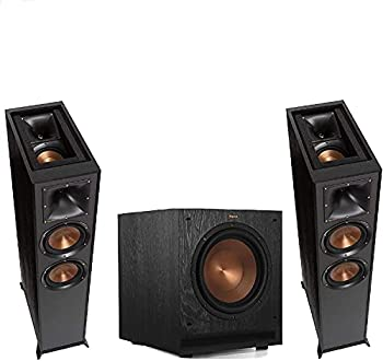 1 Pair  Klipsch R-625FA Powerful Detailed Floorstanding Home Speaker Set of 1 Black + Klipsch SPL-100 Powerful Detailed Home Speaker Set of 1 Black Bundle