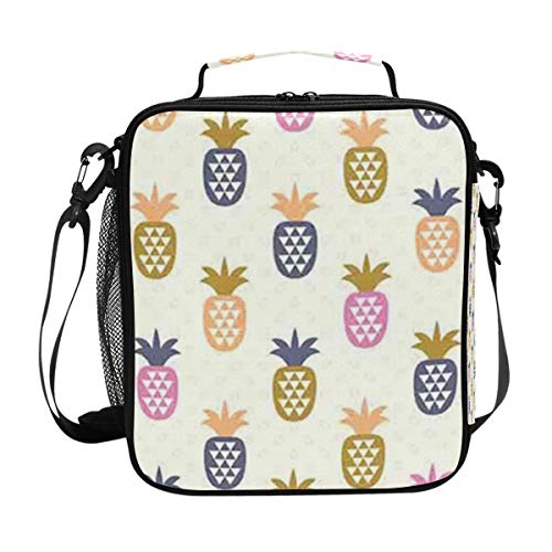 FAKAINU Premium Quality Thermal Cooler Lunch Bag Padded Insulated Liner Ornamental Geometric Triangles On Pineapples With Polka Dotted Lunch Container Tote Bag with Adjustable Shoulder Strap