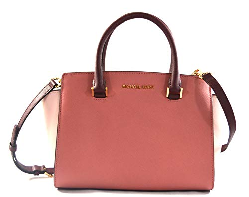 Selma Medium Satchel Bag in Rose Multicolor Leather and Gold tine accents. Top Handle, Shoulder Bag, Crossbody Bag. So many ways to love this tri tone in Pinks Leather Satchel We are loving this medium Selma with its Gorgeous silhouette and Saffiano ...