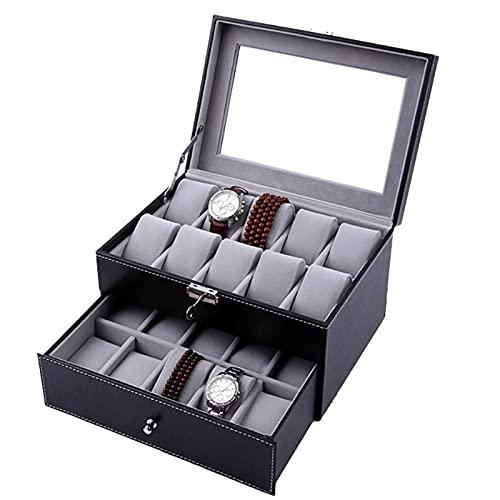 Caja de Relojes para Organizadora y Exhibición, PU Cuero 2 capas 20 rejillas de reloj caja organizador, transparente de vidrio top por encima de la joyería de la pantalla de la caja de la caja de cole