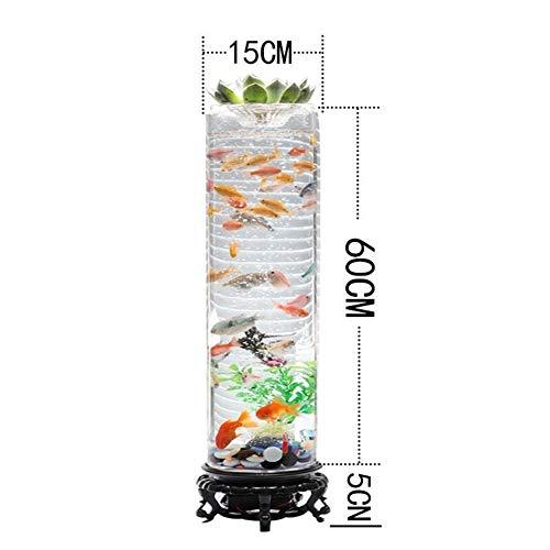 ZANGAO Stehend Barrel Fish Tank 360 Ultra Clear Glass Fish Bowl Desktop-Mini Ökologische Aquarium-Raum-Dekor mit LED-Luftpumpe-Form (Color : Sky Blue, Size : L)