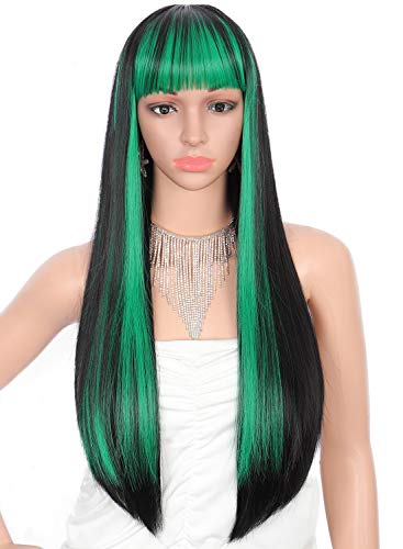 Kalyss 28 inches Women's Silky Long Straight Black with Green Strips Wig Heat Resistant Synthetic Wig With Bangs Hair Wig for Women