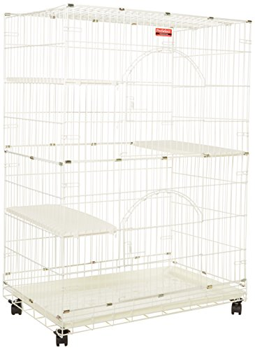 "ProSelect White Foldable Cat Cage – 8- and 12-Gauge Wire with Dimensions of 35.5"" x 22.25"" and..."