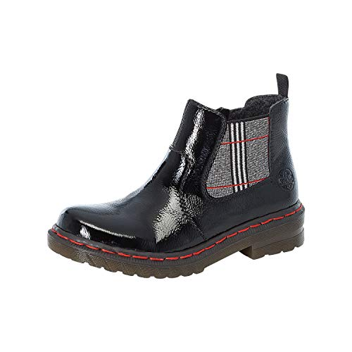 Rieker Damen Stiefeletten, Frauen Chelsea Boots, Stiefel halbstiefel Bootie Schlupfstiefel,Schwarz(Black),40 EU / 6.5 UK