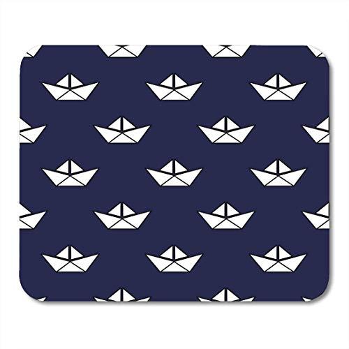 Muis Pads Jongen Navy Float Nautical Patroon met Witte Boten Baby Stijl Leuke Origami Schip Boek Child Mouse Pad Muis Matten