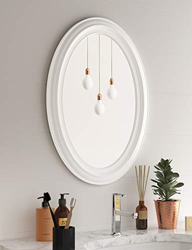 White Circle Wall Mirror - Ellipse Mirror Oval Mirror with Plastic Frame for Bedroom Washroom Living Room 21.6'x29.5'