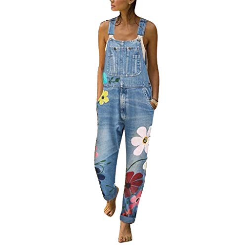 TUDUZ Latzhose Damen Hose Latzhose Denim Jeansoptik Klasse Blumendruck Vintage Jeans Lang Lässig Baggy Boyfriend Stylisch Overall Jumpsuit (Small, Hellblau)