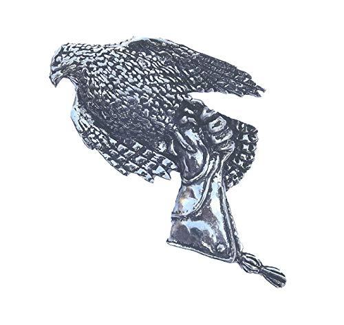 Emblems-gifts Hawk / Falcon On The Handschuh Zinn Revers Anstecknadel, Vögel Tiere Nature, Handgefertigt in Großbritannien mit Geschenktüte und Knöpfe Abzeichen