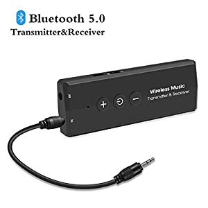 Bluetooth 5.0 Audio Transmitter Receiver, Goojodoq 3 in 1 Portable Bluetooth Adapter,Built-in 300mAh Battery Transmitter and Receiver, for PC TV, Wired Speaker and Headphones, Car Stereo Sound System