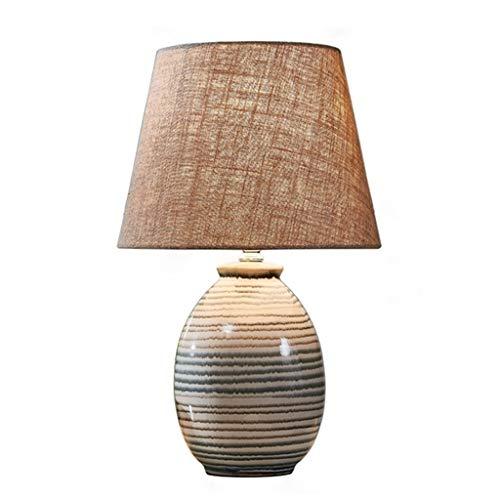 LED-bedlampje van keramiek, retro-tafellamp, voor kantoor, slaapkamer, woonkamer, kantoor, lampenkap van stof, E27, grijs