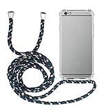 MyGadget Funda con Cuerda para Apple iPhone 6 Plus / 6s Plus - Carcasa Transparente en Silicona TPU con Cordón - Case y Correa Colgante Ajustable Negro Camu