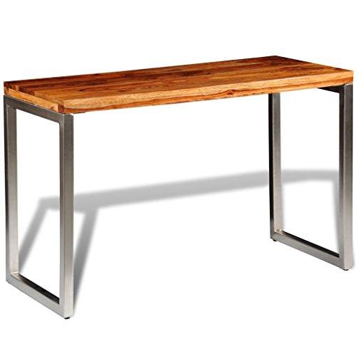SENLUOWX Table de Salon Bureau en Bois Sheesham Pieds en Acier