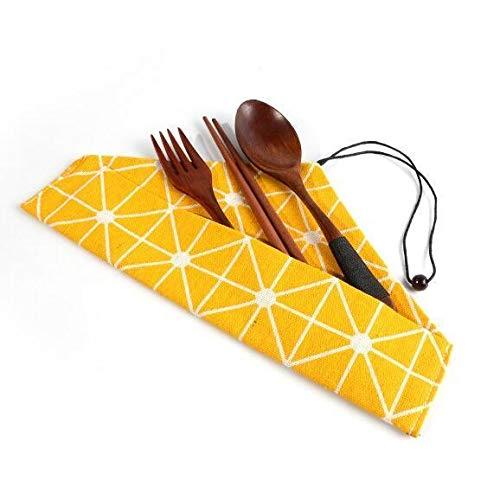 Fashion SHOP Besteckset Umweltfreundliche japanischen Stil Bambus Tragbarer Besteck 3pcs Set Stäbchen Messer, Gabel, Löffel Reiseset Holzgeschirr Besteck Set Bequem und langlebig (Color : 004TypeA)