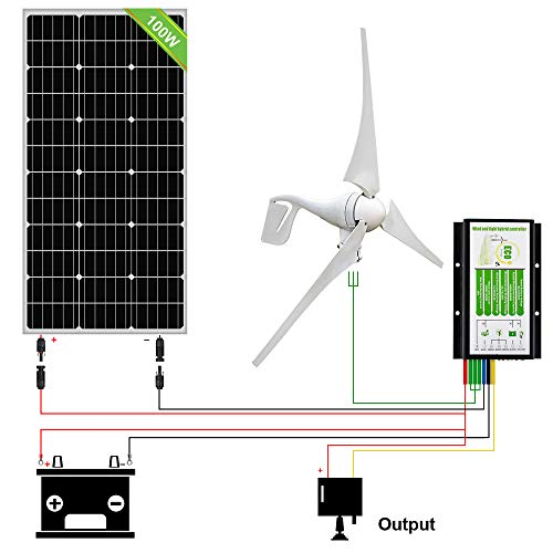 ECO-WORTHY 500W Wind Solar Power Kit: 400W Wind Turbine Generator+ 100W Monocrystalline Solar Panel for Off Grid 12 Volt Battery Charging