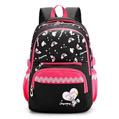 Kinderrucksäcke Schultasche für Mädchen, Grundschule Schulranzen Großer Rucksack Schöner Bedruckter Lässiger Tagesrucksack für Kinder(Rosenrot)
